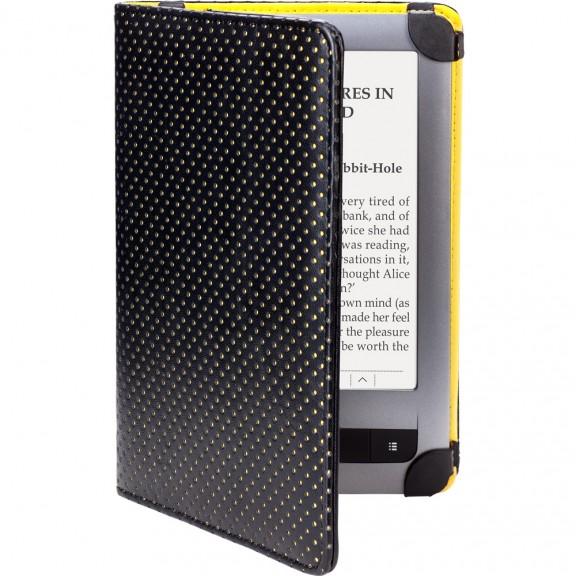 Кожен калъф за PocketBook PB626 Touch Lux 3, Черен/Жълт