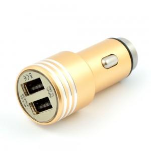 Зарядно устройство за автомобил, 2 x USB изхода, Gold