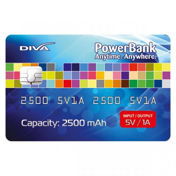 Преносима външна батерия Diva Slim, 2500 mAh